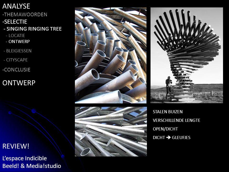 STALEN BUIZEN VERSCHILLENDE LENGTE OPEN/DICHT DICHT  GLEUFJES ANALYSE -THEMAWOORDEN -SELECTIE - SINGING RINGING TREE - LOCATIE - ONTWERP - BLEIGIESSEN - CITYSCAPE -CONCLUSIE ONTWERP REVIEW.