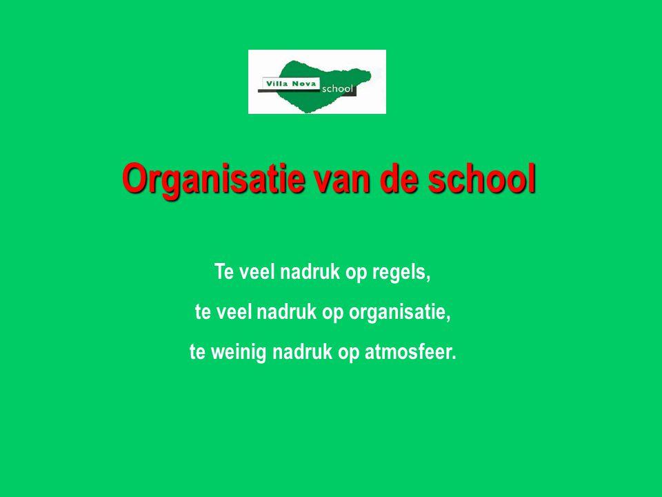 Organisatie van de school Te veel nadruk op regels, te veel nadruk op organisatie, te weinig nadruk op atmosfeer.