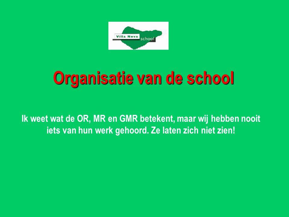 Organisatie van de school Ik weet wat de OR, MR en GMR betekent, maar wij hebben nooit iets van hun werk gehoord.