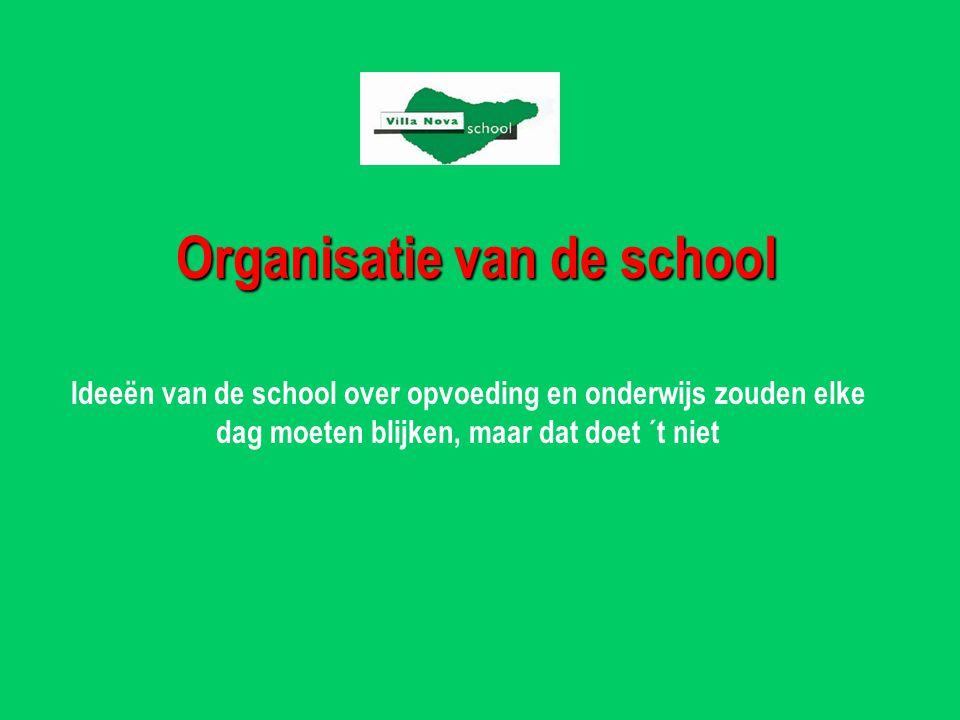 Organisatie van de school Ideeën van de school over opvoeding en onderwijs zouden elke dag moeten blijken, maar dat doet ´t niet