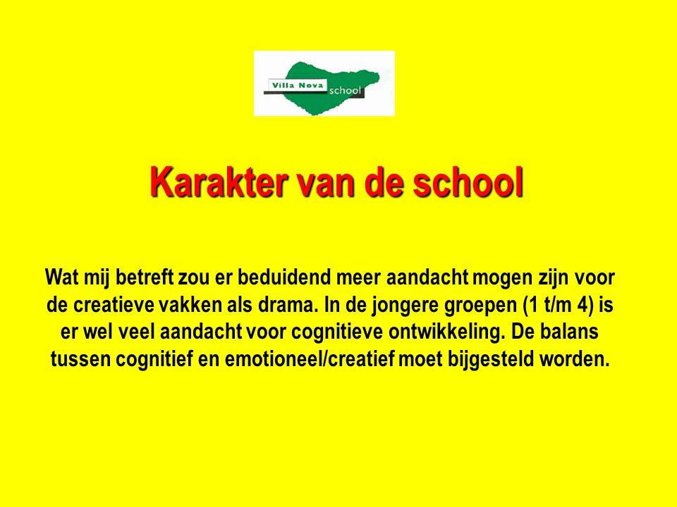 Karakter van de school Wat mij betreft zou er beduidend meer aandacht mogen zijn voor de creatieve vakken als drama.