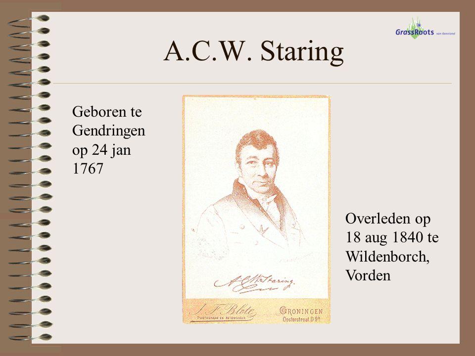 A.C.W. Staring Geboren te Gendringen op 24 jan 1767 Overleden op 18 aug 1840 te Wildenborch, Vorden