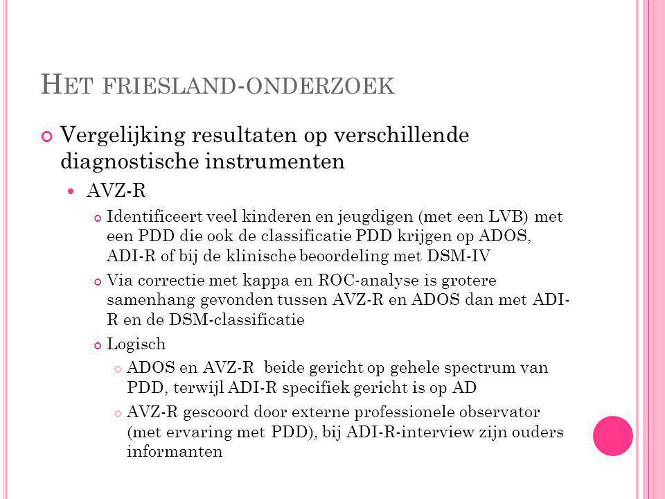 H ET FRIESLAND - ONDERZOEK Diagnostische instrumenten Autism Diagnostic Observation Schedule (ADOS) Semi-gestructureerd observatie-instrument Voor kin