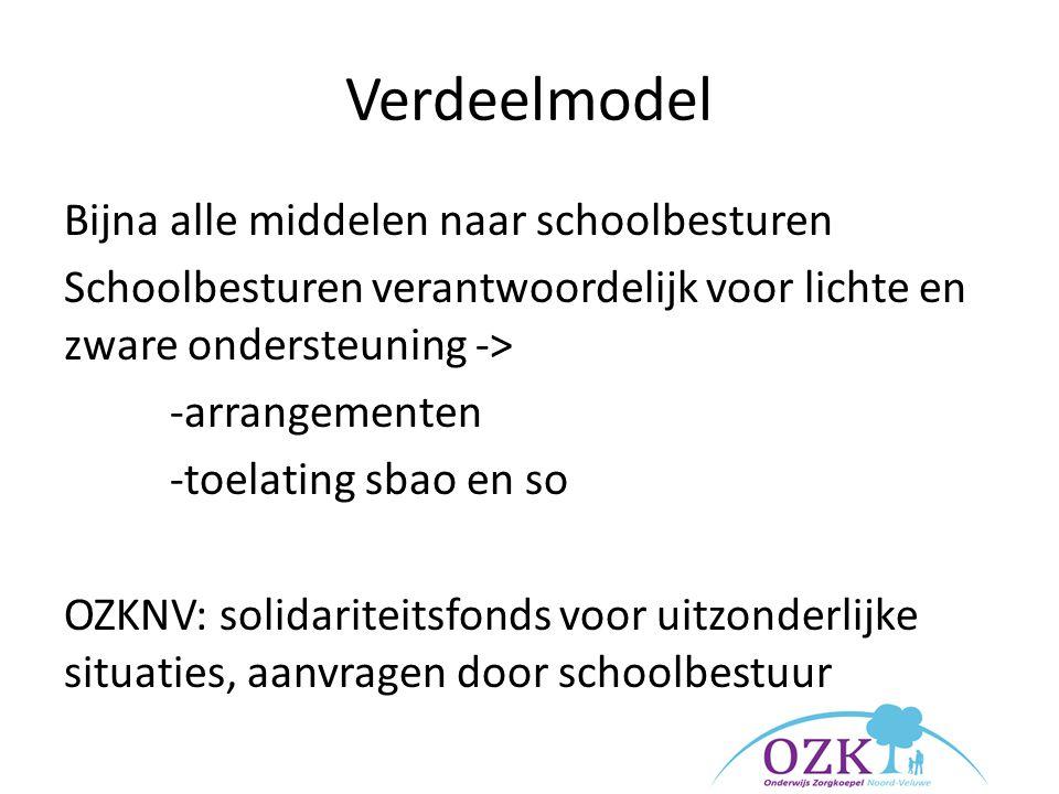 Verdeelmodel Bijna alle middelen naar schoolbesturen Schoolbesturen verantwoordelijk voor lichte en zware ondersteuning -> -arrangementen -toelating s