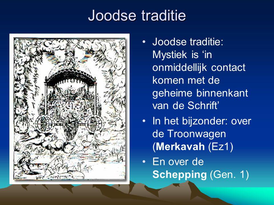 Joodse traditie Joodse traditie: Mystiek is 'in onmiddellijk contact komen met de geheime binnenkant van de Schrift' In het bijzonder: over de Troonwa