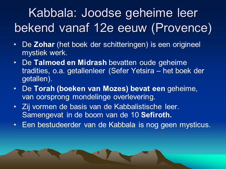 Kabbala: Joodse geheime leer bekend vanaf 12e eeuw (Provence) De Zohar (het boek der schitteringen) is een origineel mystiek werk. De Talmoed en Midra