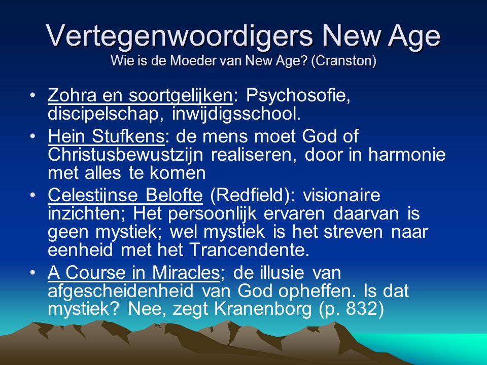 Vertegenwoordigers New Age Wie is de Moeder van New Age? (Cranston) Zohra en soortgelijken: Psychosofie, discipelschap, inwijdigsschool. Hein Stufkens