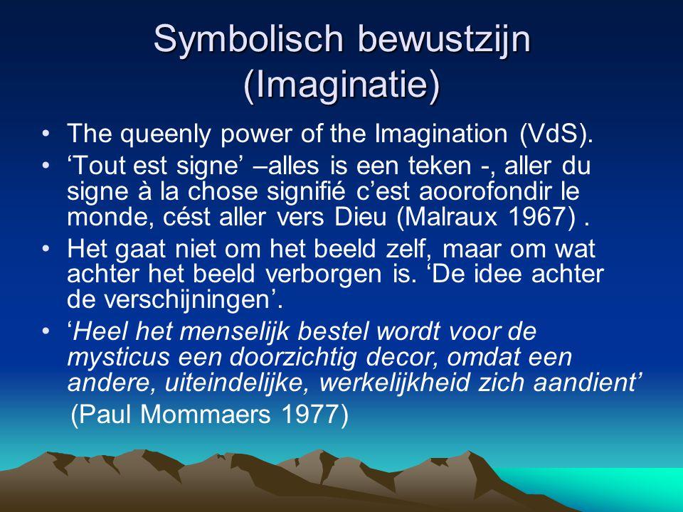 Symbolisch bewustzijn (Imaginatie) The queenly power of the Imagination (VdS). 'Tout est signe' –alles is een teken -, aller du signe à la chose signi