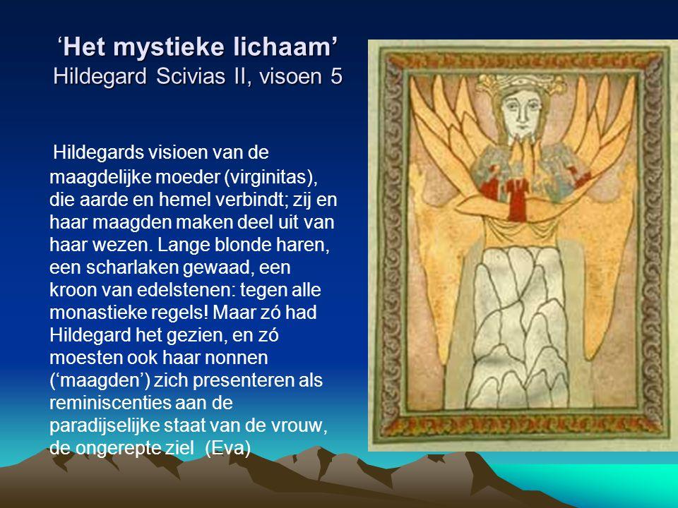 'Het mystieke lichaam' Hildegard Scivias II, visoen 5 Hildegards visioen van de maagdelijke moeder (virginitas), die aarde en hemel verbindt; zij en h