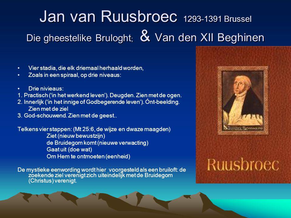 Jan van Ruusbroec 1293-1391 Brussel Die gheestelike Bruloght ; & Van den XII Beghinen Vier stadia, die elk driemaal herhaald worden, Zoals in een spir