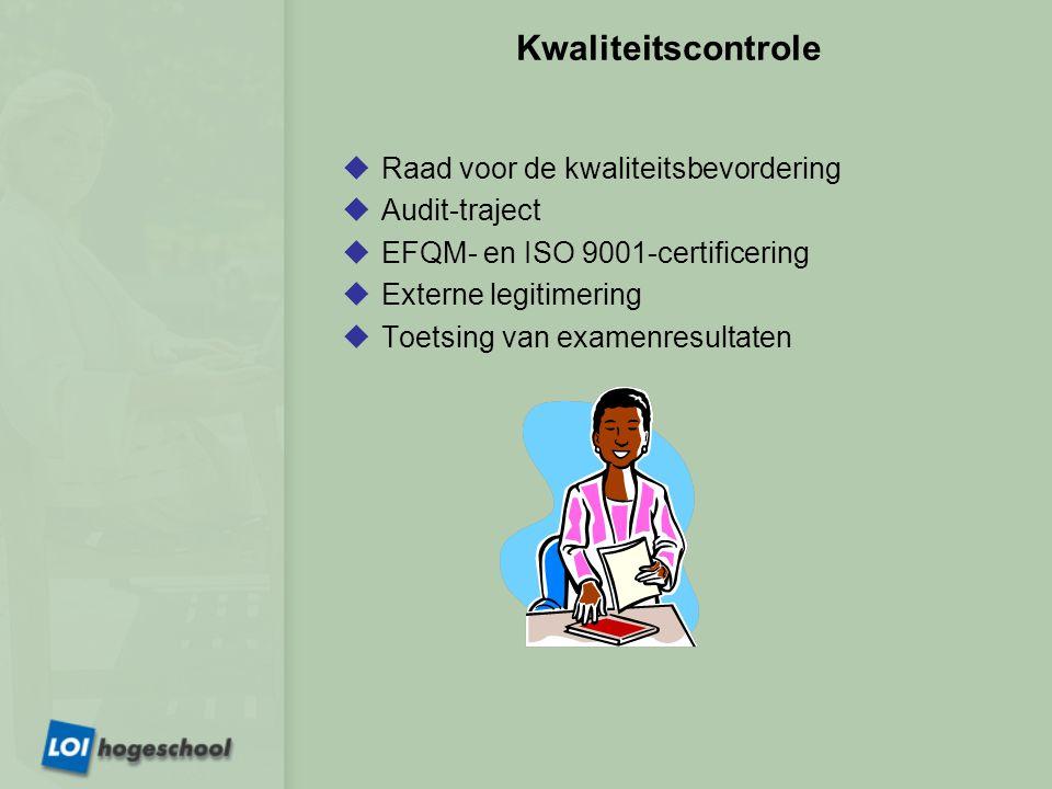 Kwaliteitscontrole  Raad voor de kwaliteitsbevordering  Audit-traject  EFQM- en ISO 9001-certificering  Externe legitimering  Toetsing van examenresultaten