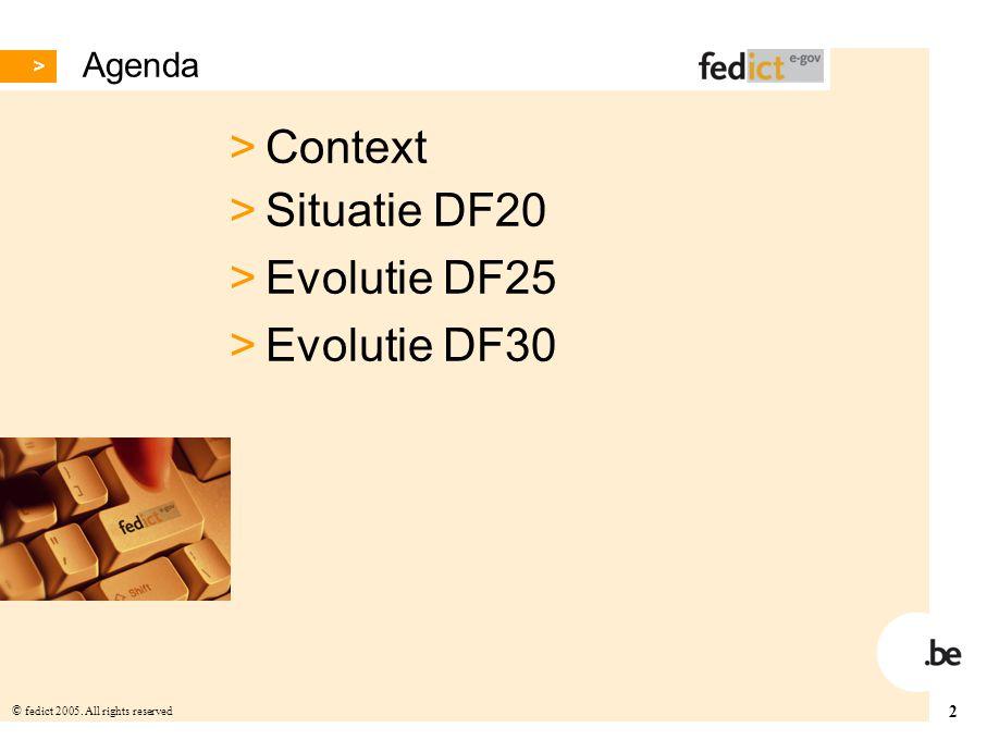 2 © fedict 2005. All rights reserved Agenda > Context > Situatie DF20 > Evolutie DF25 > Evolutie DF30