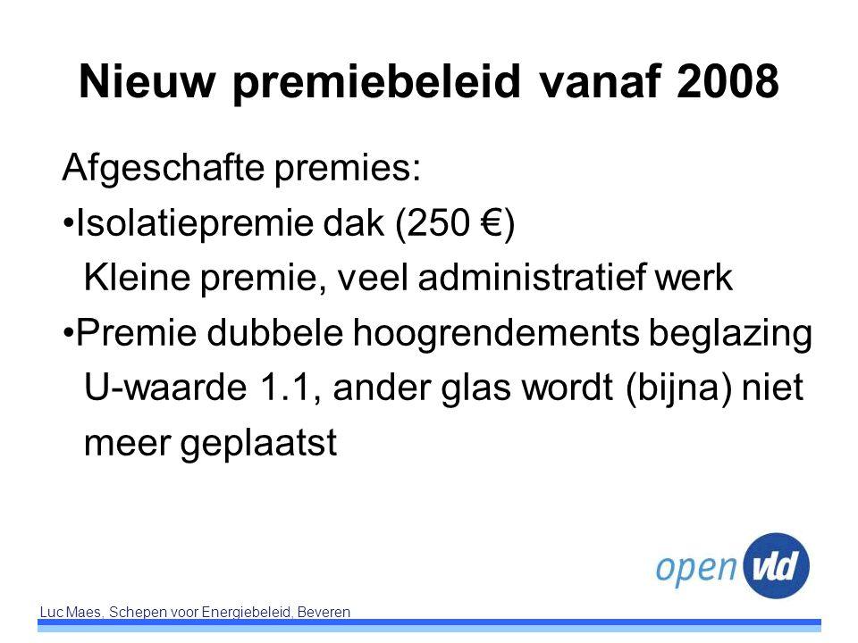 Luc Maes, Schepen voor Energiebeleid, Beveren Nieuw premiebeleid vanaf 2008 Afgeschafte premies: Isolatiepremie dak (250 €) Kleine premie, veel admini