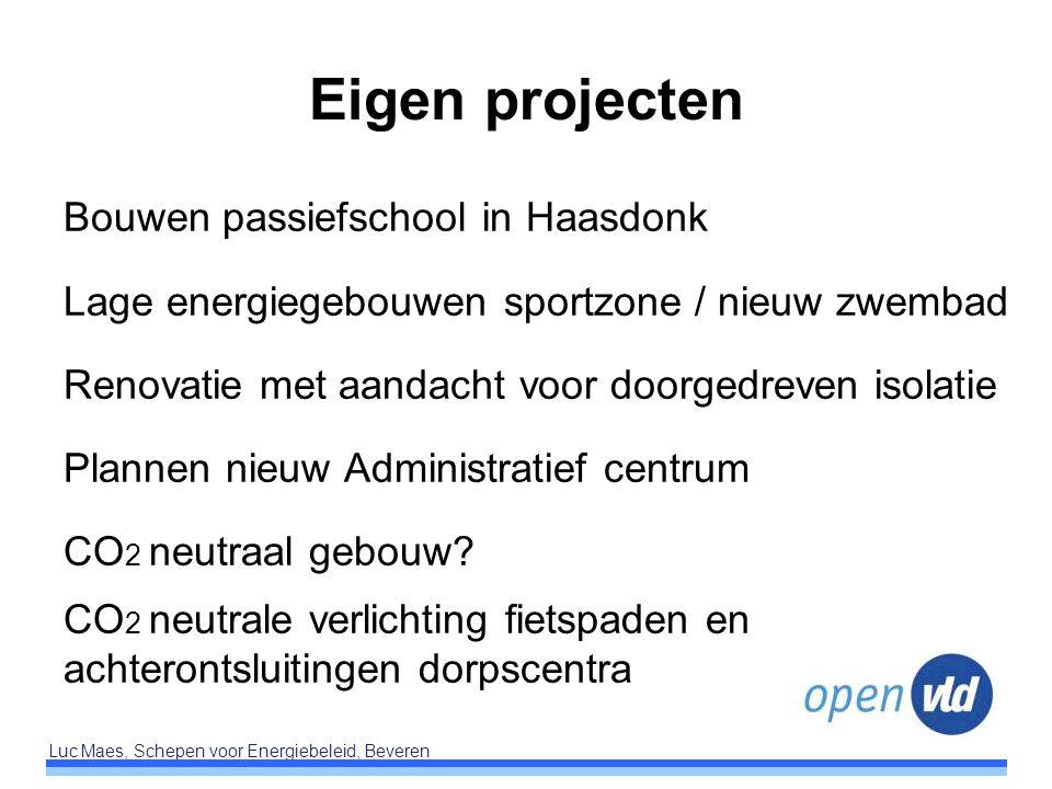 Luc Maes, Schepen voor Energiebeleid, Beveren Eigen projecten Bouwen passiefschool in Haasdonk Lage energiegebouwen sportzone / nieuw zwembad Renovati