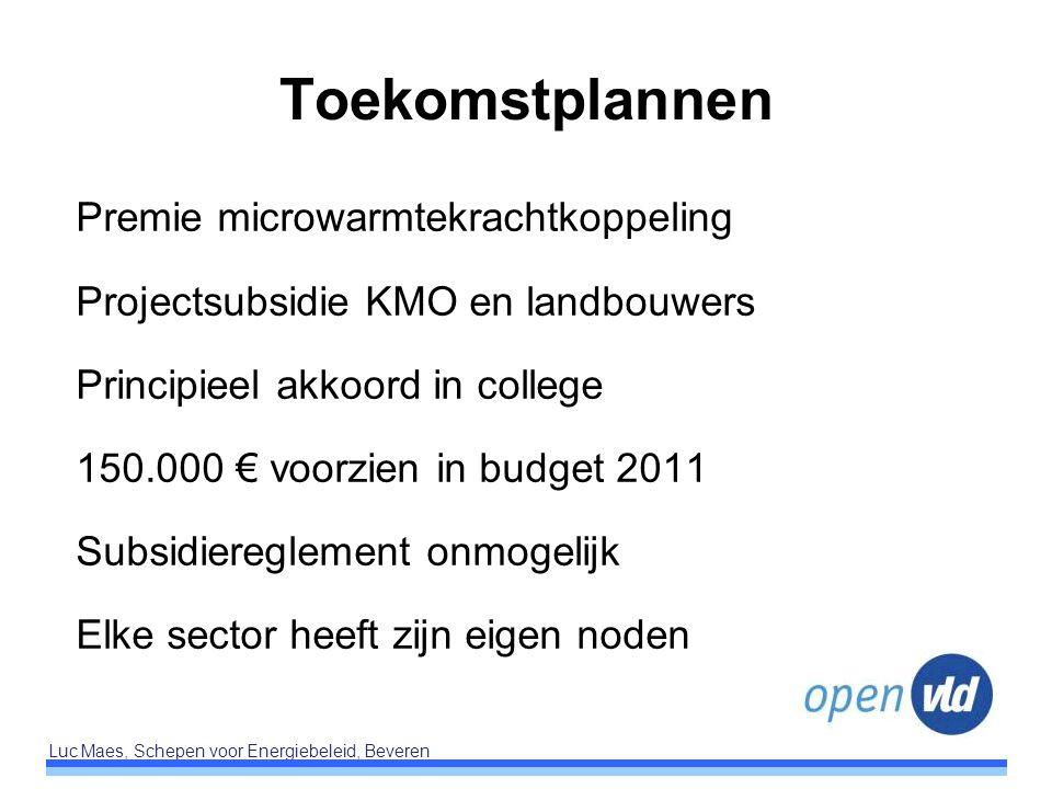 Luc Maes, Schepen voor Energiebeleid, Beveren Toekomstplannen Premie microwarmtekrachtkoppeling Projectsubsidie KMO en landbouwers Principieel akkoord