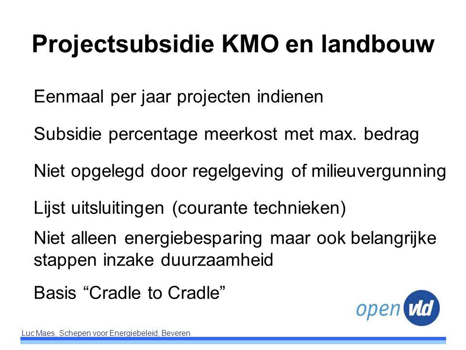 Luc Maes, Schepen voor Energiebeleid, Beveren Projectsubsidie KMO en landbouw Eenmaal per jaar projecten indienen Subsidie percentage meerkost met max