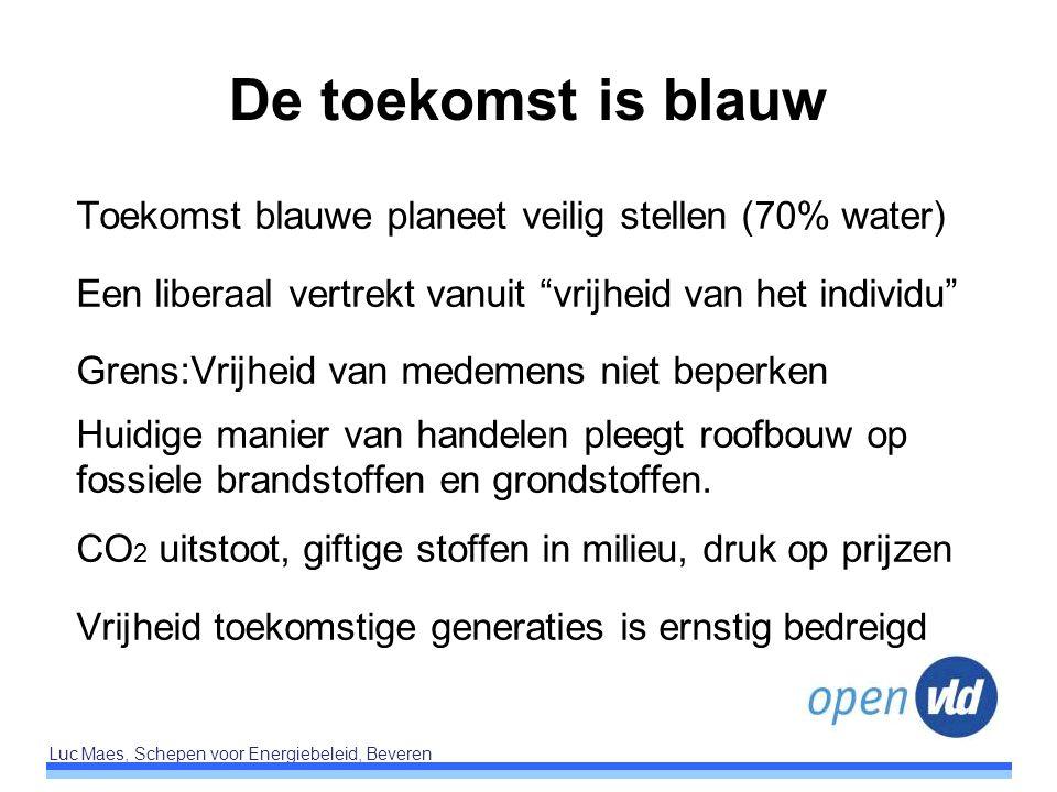 """Luc Maes, Schepen voor Energiebeleid, Beveren De toekomst is blauw Toekomst blauwe planeet veilig stellen (70% water) Een liberaal vertrekt vanuit """"vr"""