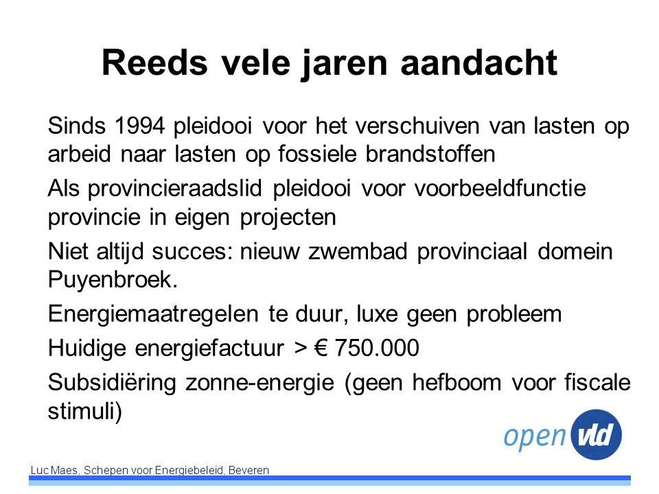 Luc Maes, Schepen voor Energiebeleid, Beveren Reeds vele jaren aandacht Sinds 1994 pleidooi voor het verschuiven van lasten op arbeid naar lasten op f