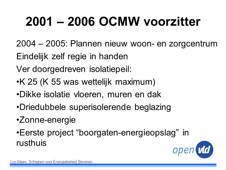 Luc Maes, Schepen voor Energiebeleid, Beveren 2001 – 2006 OCMW voorzitter 2004 – 2005: Plannen nieuw woon- en zorgcentrum Eindelijk zelf regie in hand