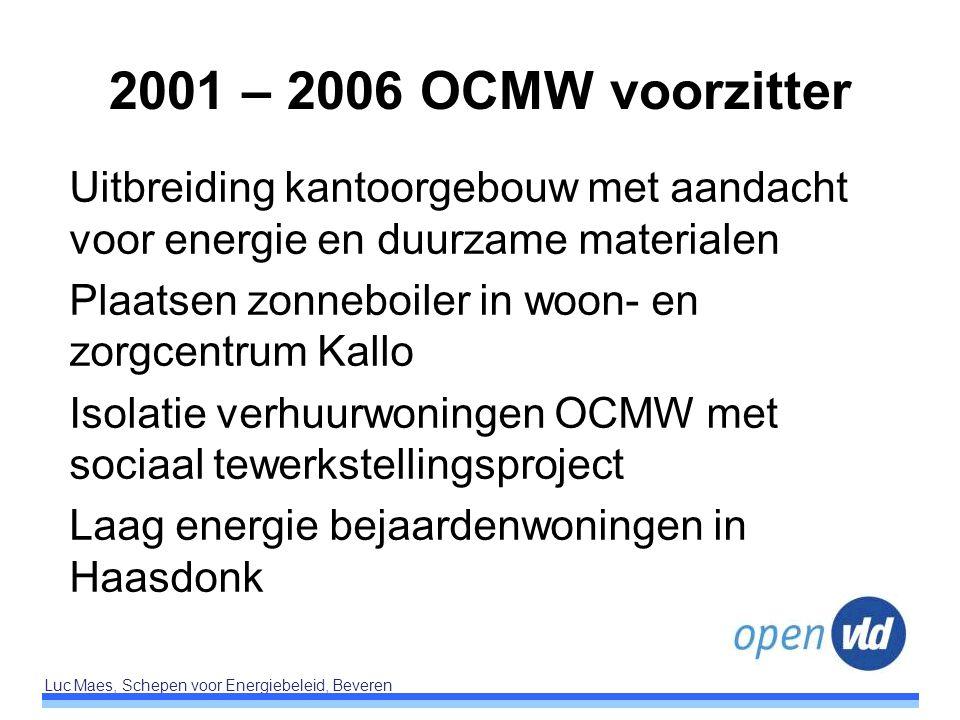 Luc Maes, Schepen voor Energiebeleid, Beveren 2001 – 2006 OCMW voorzitter Uitbreiding kantoorgebouw met aandacht voor energie en duurzame materialen P