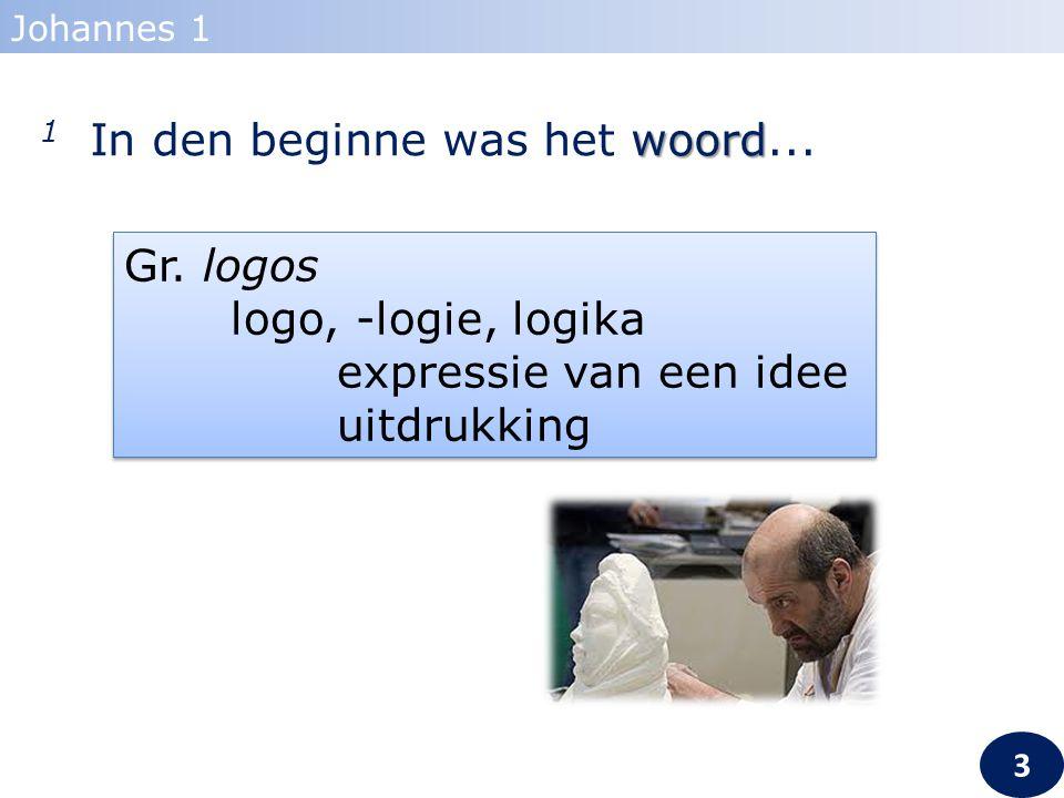 woord 1 In den beginne was het woord... Johannes 1 Gr. logos logo, -logie, logika expressie van een idee uitdrukking Gr. logos logo, -logie, logika ex