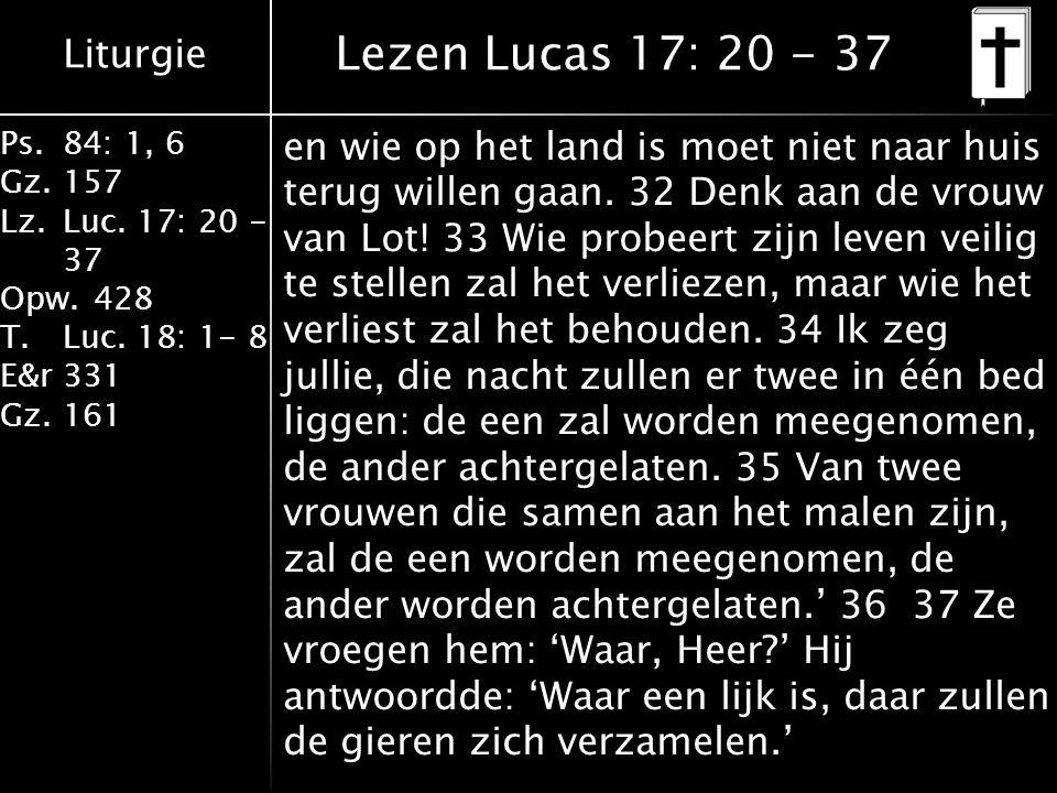 Liturgie Ps.84: 1, 6 Gz.157 Lz.Luc. 17: 20 - 37 Opw.428 T.Luc. 18: 1- 8 E&r331 Gz.161 en wie op het land is moet niet naar huis terug willen gaan. 32