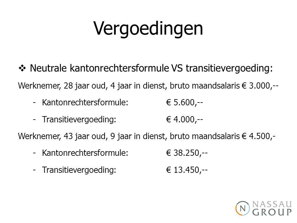 Vergoedingen  Neutrale kantonrechtersformule VS transitievergoeding: Werknemer, 28 jaar oud, 4 jaar in dienst, bruto maandsalaris € 3.000,-- -Kantonrechtersformule: € 5.600,-- -Transitievergoeding: € 4.000,-- Werknemer, 43 jaar oud, 9 jaar in dienst, bruto maandsalaris € 4.500,- -Kantonrechtersformule: € 38.250,-- -Transitievergoeding: € 13.450,--