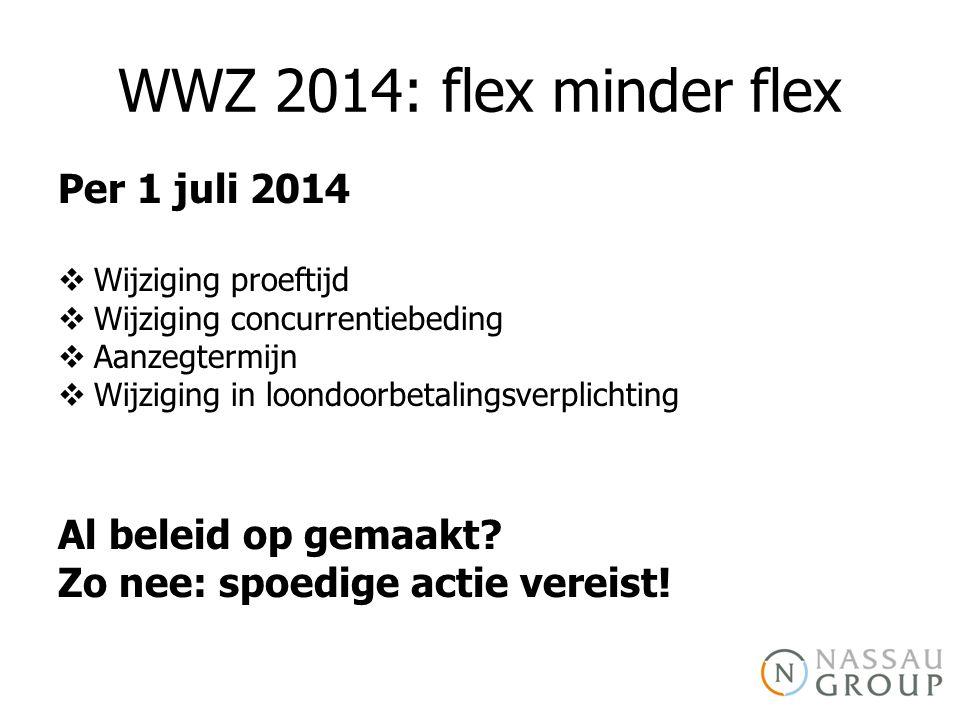 WWZ 2014: flex minder flex Per 1 juli 2014  Wijziging proeftijd  Wijziging concurrentiebeding  Aanzegtermijn  Wijziging in loondoorbetalingsverplichting Al beleid op gemaakt.