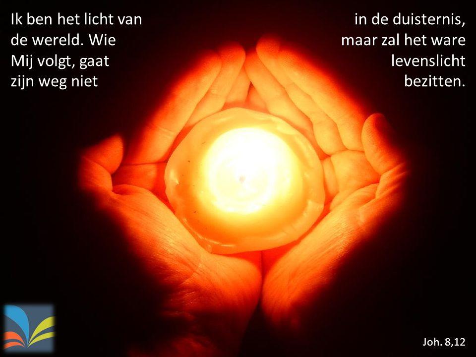 Ik ben het licht van de wereld. Wie Mij volgt, gaat zijn weg niet Joh. 8,12 in de duisternis, maar zal het ware levenslicht bezitten.