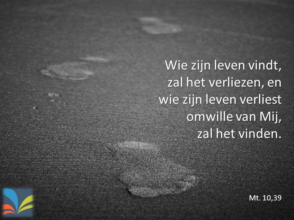 Wie zijn leven vindt, zal het verliezen, en wie zijn leven verliest omwille van Mij, zal het vinden. Mt. 10,39