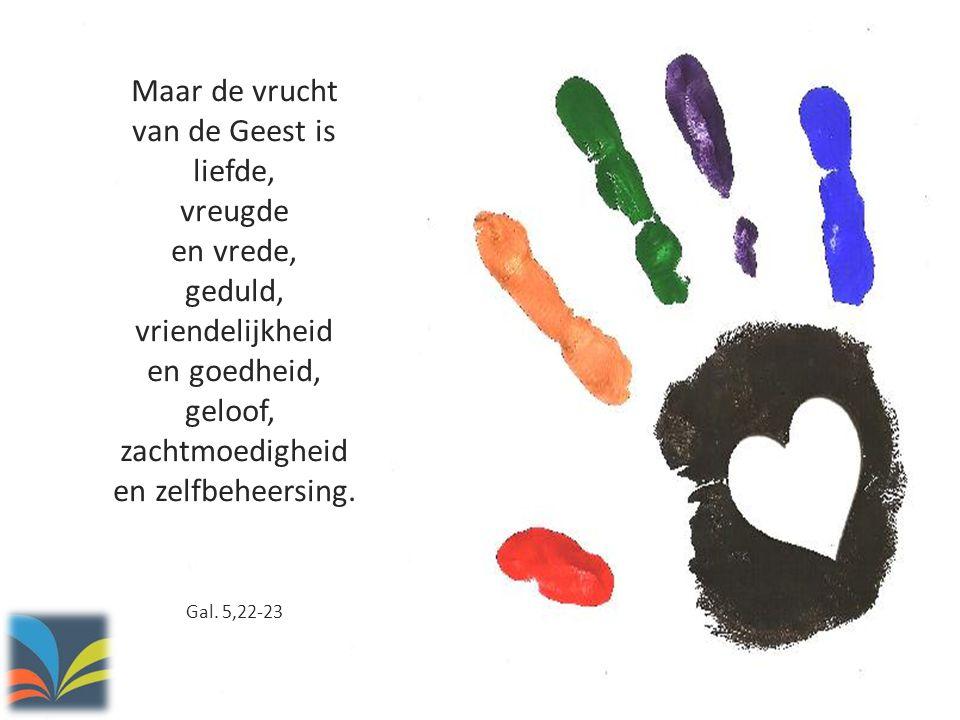 Maar de vrucht van de Geest is liefde, vreugde en vrede, geduld, vriendelijkheid en goedheid, geloof, zachtmoedigheid en zelfbeheersing. Gal. 5,22-23
