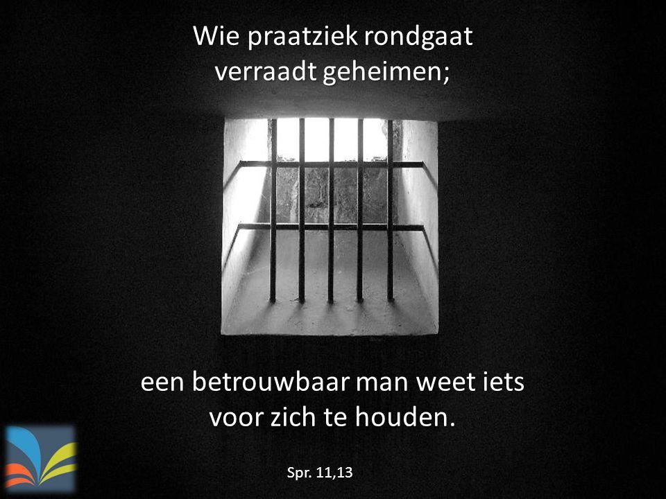 Wie praatziek rondgaat verraadt geheimen; Spr. 11,13 een betrouwbaar man weet iets voor zich te houden.