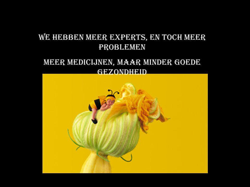 We hebben meer experts, en toch meer problemen Meer medicijnen, maar minder goede gezondheid