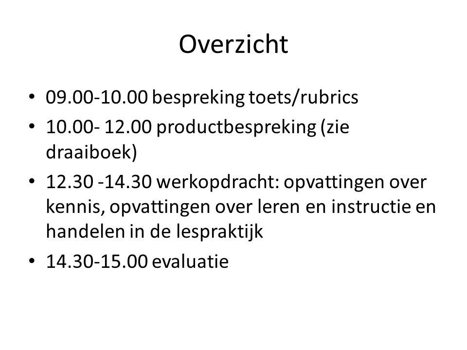 Overzicht 09.00-10.00 bespreking toets/rubrics 10.00- 12.00 productbespreking (zie draaiboek) 12.30 -14.30 werkopdracht: opvattingen over kennis, opvattingen over leren en instructie en handelen in de lespraktijk 14.30-15.00 evaluatie