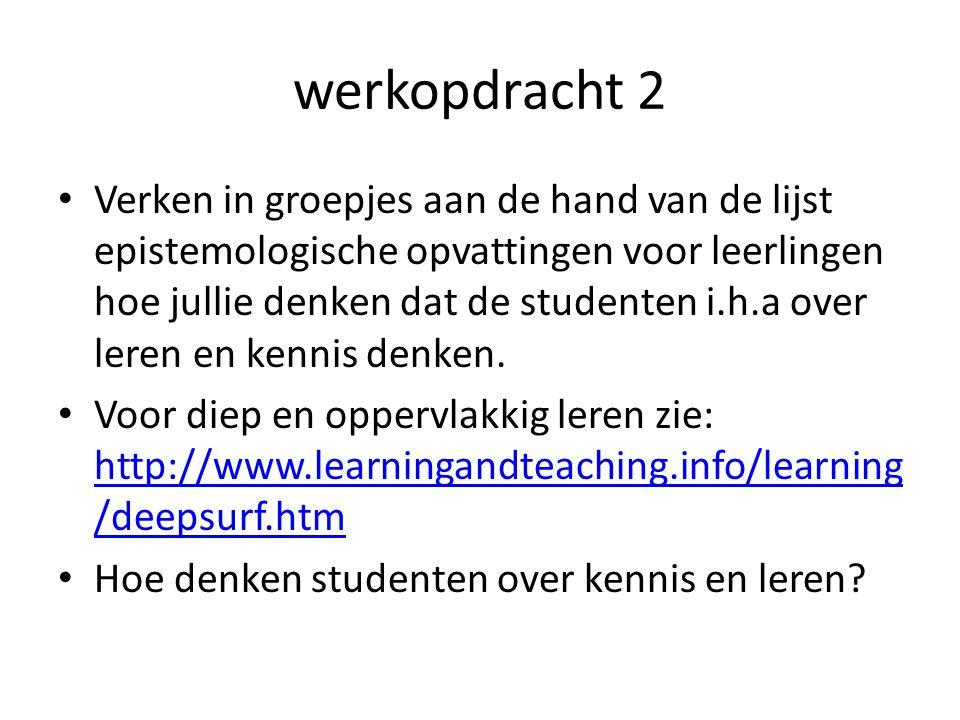 werkopdracht 2 Verken in groepjes aan de hand van de lijst epistemologische opvattingen voor leerlingen hoe jullie denken dat de studenten i.h.a over leren en kennis denken.