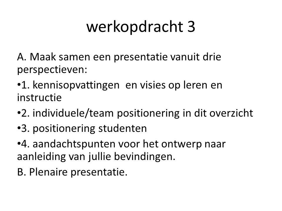 werkopdracht 3 A. Maak samen een presentatie vanuit drie perspectieven: 1. kennisopvattingen en visies op leren en instructie 2. individuele/team posi