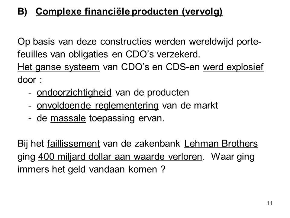 11 B) Complexe financiële producten (vervolg) Op basis van deze constructies werden wereldwijd porte- feuilles van obligaties en CDO's verzekerd.