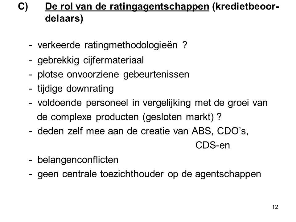 12 C)De rol van de ratingagentschappen (kredietbeoor- delaars) - verkeerde ratingmethodologieën .