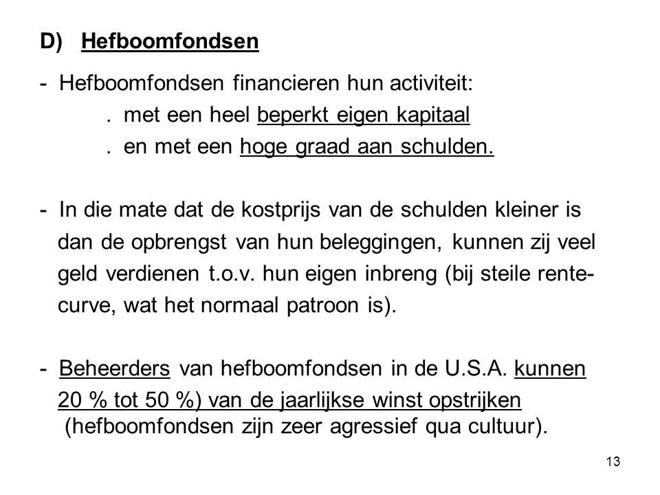 13 D) Hefboomfondsen - Hefboomfondsen financieren hun activiteit:.