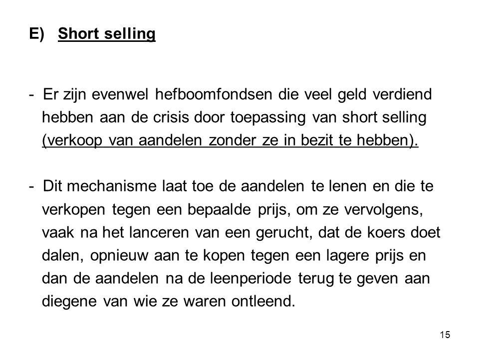 15 E) Short selling - Er zijn evenwel hefboomfondsen die veel geld verdiend hebben aan de crisis door toepassing van short selling (verkoop van aandelen zonder ze in bezit te hebben).