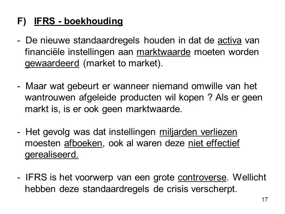 17 F) IFRS - boekhouding - De nieuwe standaardregels houden in dat de activa van financiële instellingen aan marktwaarde moeten worden gewaardeerd (market to market).