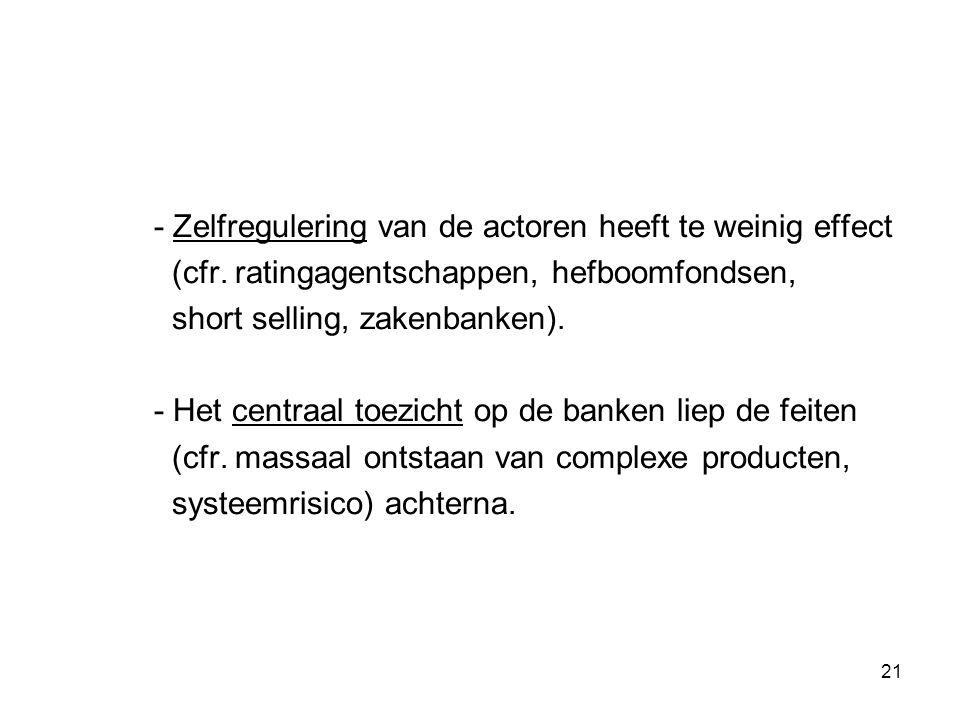 21 - Zelfregulering van de actoren heeft te weinig effect (cfr.