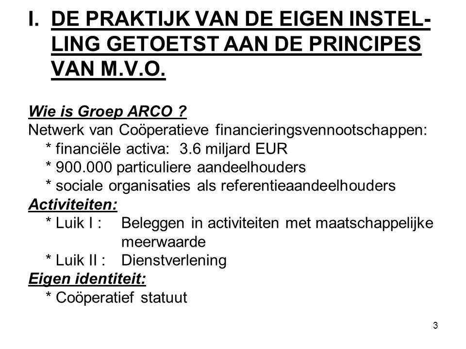 3 I. DE PRAKTIJK VAN DE EIGEN INSTEL- LING GETOETST AAN DE PRINCIPES VAN M.V.O.