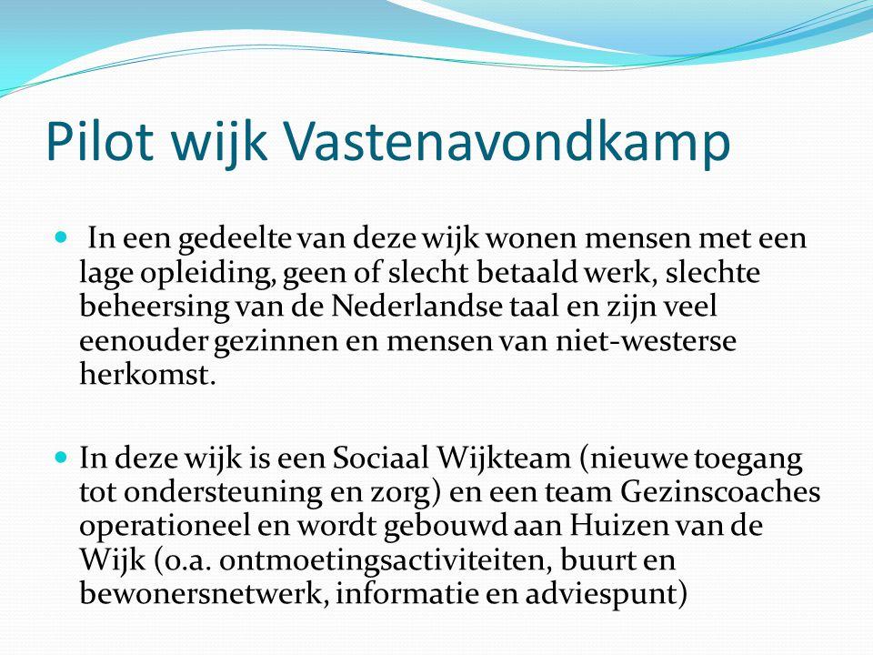 Pilot wijk Vastenavondkamp In een gedeelte van deze wijk wonen mensen met een lage opleiding, geen of slecht betaald werk, slechte beheersing van de Nederlandse taal en zijn veel eenouder gezinnen en mensen van niet-westerse herkomst.