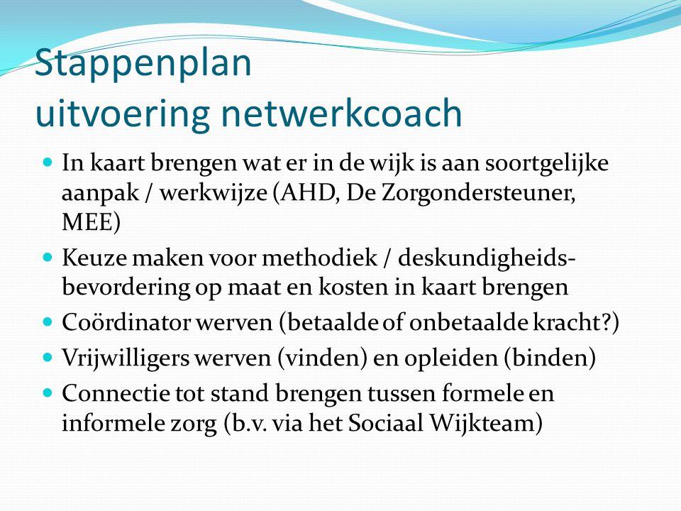 Stappenplan uitvoering netwerkcoach In kaart brengen wat er in de wijk is aan soortgelijke aanpak / werkwijze (AHD, De Zorgondersteuner, MEE) Keuze ma