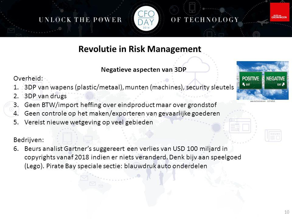 10 Negatieve aspecten van 3DP Overheid: 1.3DP van wapens (plastic/metaal), munten (machines), security sleutels 2.3DP van drugs 3.Geen BTW/import heff
