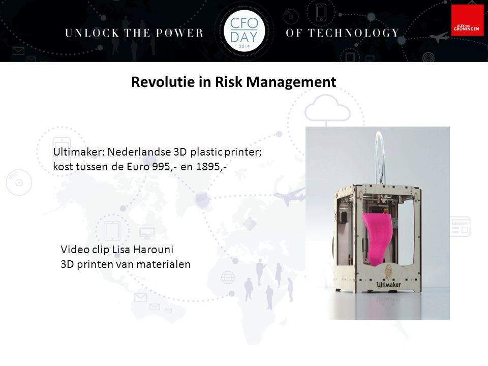 Arnold Geelhoed Elsevier Maart, 2014 Een wereld gevormd door 3D printing en scanning, de nieuwe basis voor risk management Wereld gaat veranderen dus niet negeren, nu impact onderzoeken Grote verschuivingen: kredietrisico's in div landen, markt en klant segmenten toename risico's voor uw klanten, leveranciers of beleggingen Bedrijfsketens verdwijnen of worden kleiner Industriële revolutie van massa tot productie door of dichtbij de consument Revolutie in Risk Management