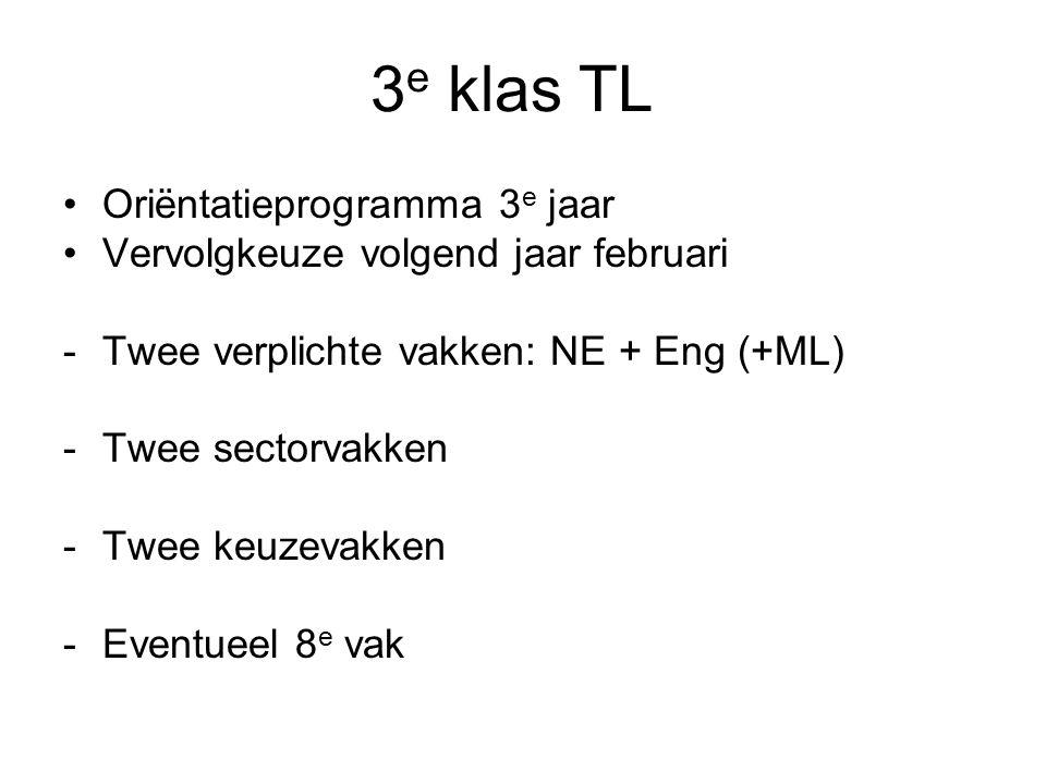 3 e klas TL Oriëntatieprogramma 3 e jaar Vervolgkeuze volgend jaar februari -Twee verplichte vakken: NE + Eng (+ML) -Twee sectorvakken -Twee keuzevakk