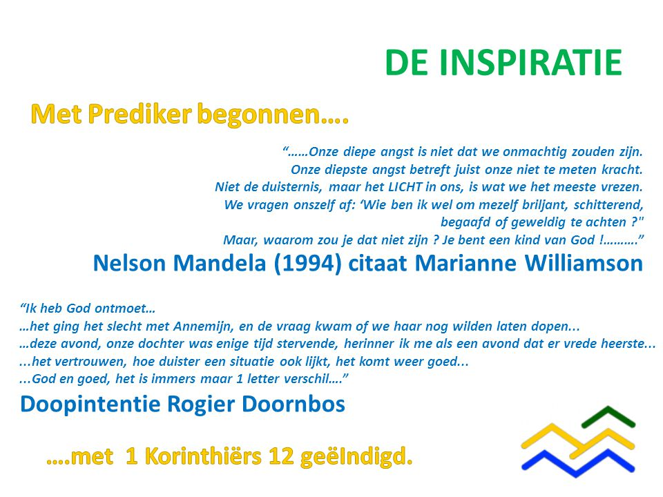 DE INSPIRATIE Nelson Mandela (1994) citaat Marianne Williamson ……Onze diepe angst is niet dat we onmachtig zouden zijn.