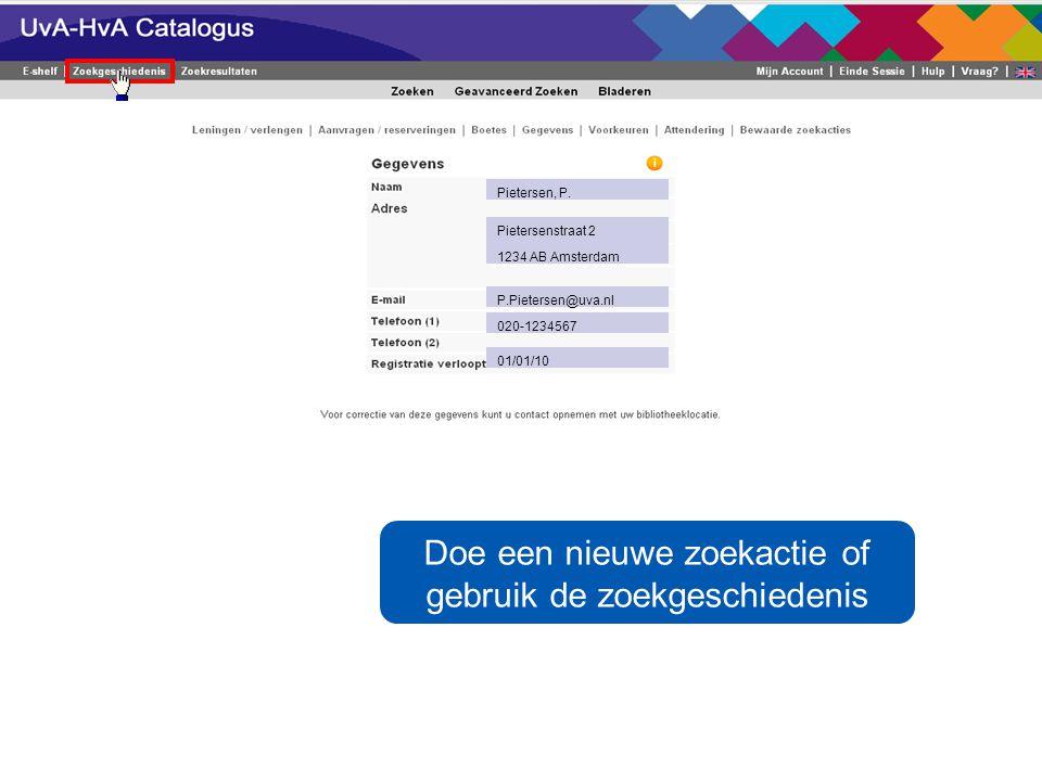 Uw persoonlijke gegevens komen in beeld Pietersen, P.